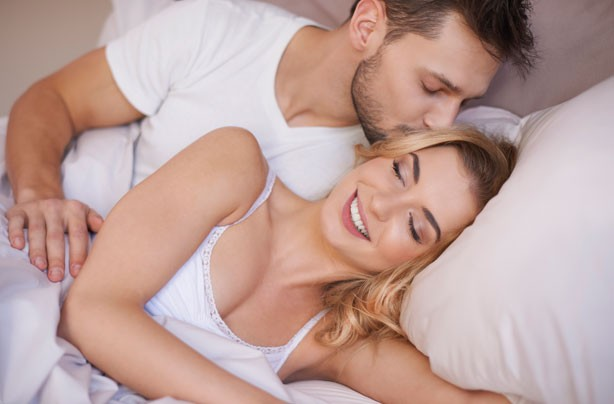 Sex positions for conception, couple in bed