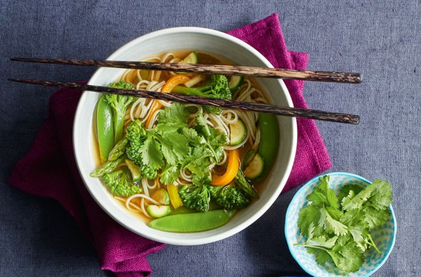 Green miso noodle bowl