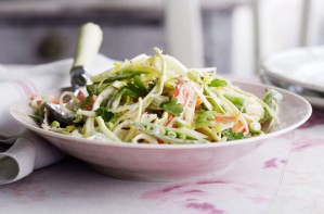 Fennel, sugarsnap pea and spring onion coleslaw