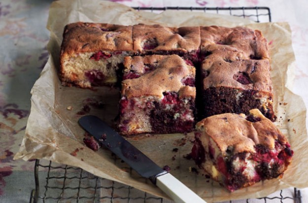 Very berry chocolate tray bake