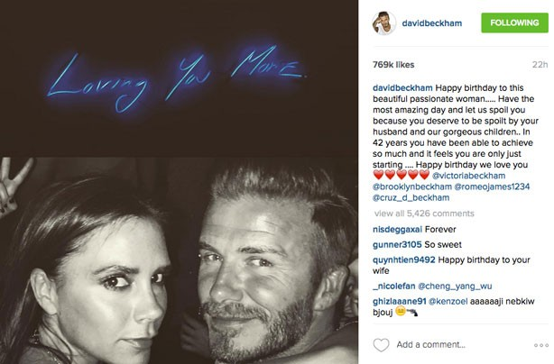 David Beckham shares sweet message for Victoria's birthday