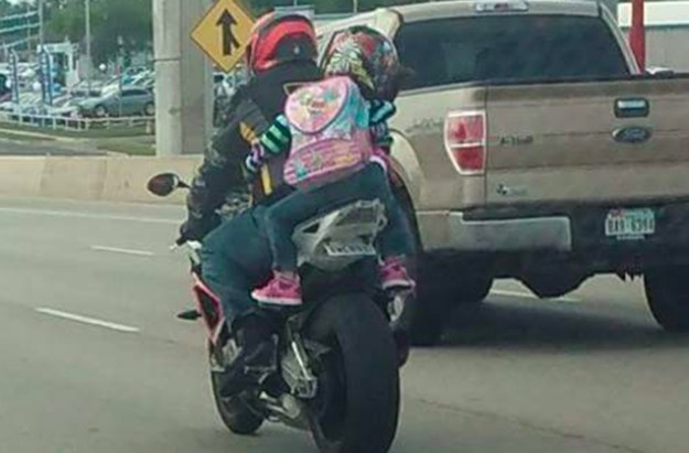 Seven year old on motor bike