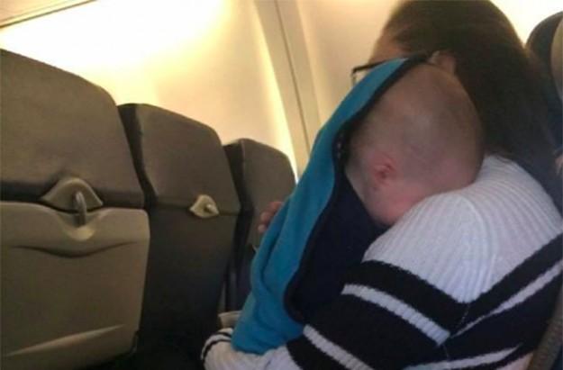 Mum stressed on plane