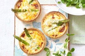 Chorizo and asparagus tarts