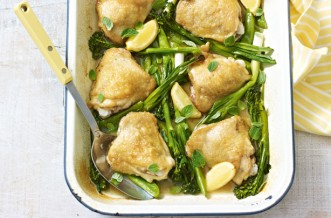 Spring chicken tray bake with green vegetables