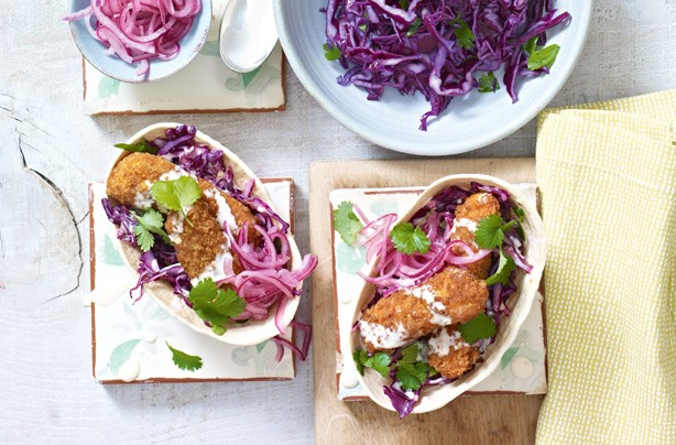 Crispy fish tacos with coleslaw