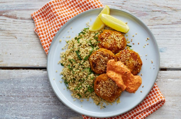 Sweet potato falafel with herby couscous and pepper sauce
