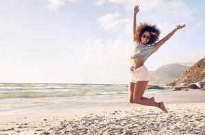 Woman jumping, beach, summer, fitness, diet