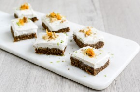 Raw carrot cake with vegan cashew nut frosting
