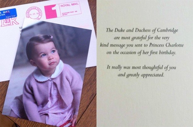Princess Charlotte thank you card