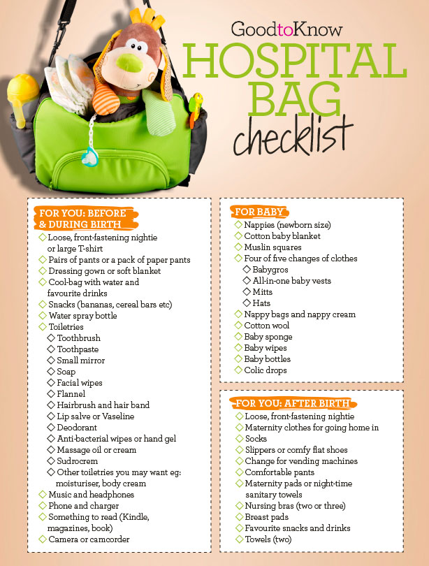 Your hospital bag checklist: Everything you'll need for before and ...