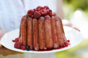 Creamy summer pudding with sponge fingers