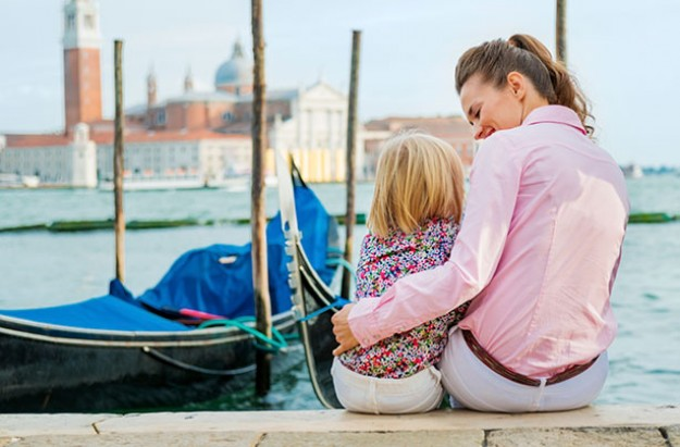 Mother and daughter, holiday, Venice