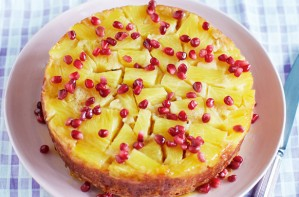 Pineapple and pomegranate upside down cake