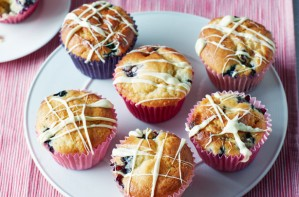 Blueberry, lemon and white chocolate muffins