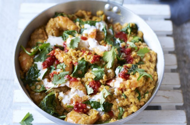 Easy prawn and lentil curry