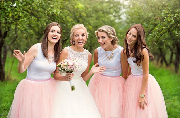 Bride, bridesmaids, wedding