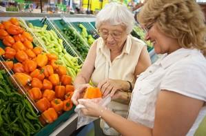 Elderly shopper slow shopping