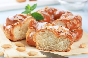 Sweet almond bread plait