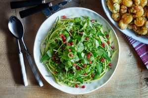 courgette pea shoot pomegranate salad