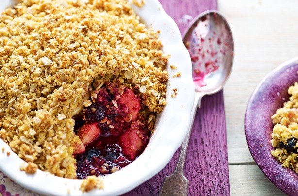 Gluten-free blueberry and apple crumble