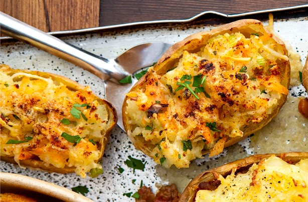 Smoked trout and cheese baked potato