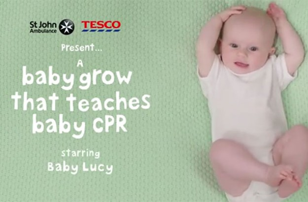 St Johns Ambulance Tesco CPR baby grow