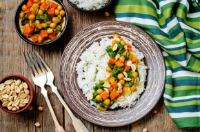 Quick chickpea and sweet potato curry