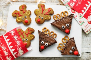 Reindeer gingerbread men and brownies