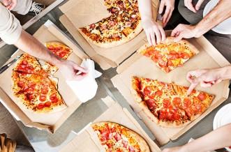 Healthy takeaway, pizza, friends, eating