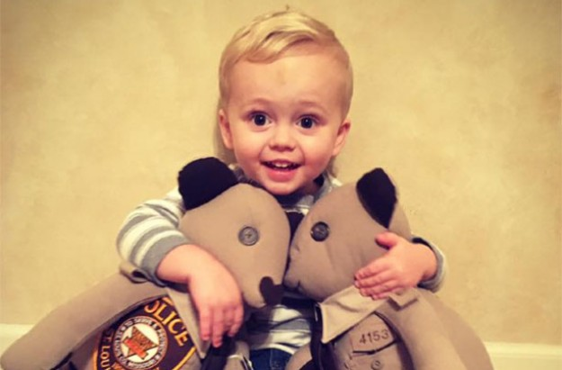 Boy given teddy bears made from dad's police uniform