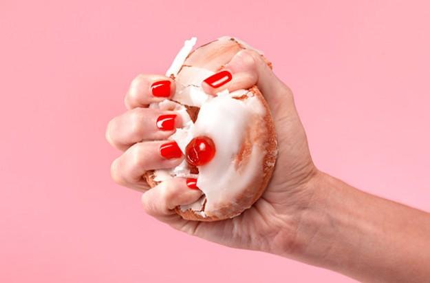 Woman crushing bun, weight loss, diet
