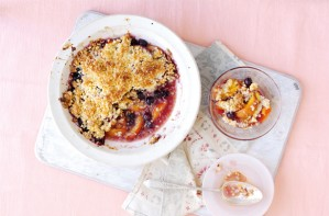 Peach and coconut crumble