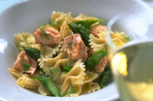 Salmon pasta with creme fraiche