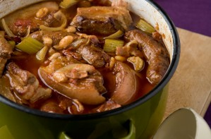 Sausage, pork belly and bacon casserole