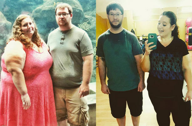 Couple who weighed 770lbs collectively shed half of their ...