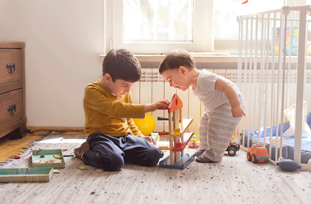 Child development stages, young boys playing
