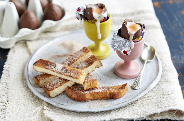 Creme egg and french toast soldiers