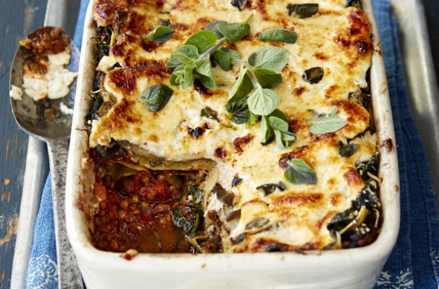 Flexitarian mushroom, lentil and aubergine lasagne