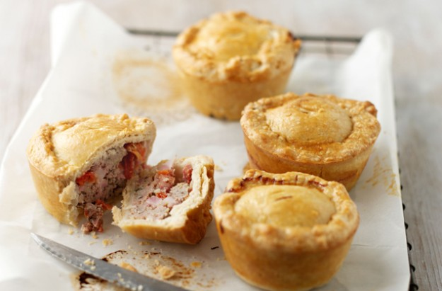 Sausage, bacon and mustard pies