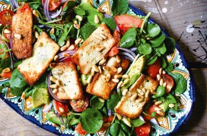 Papaya Halloumi and Watercress Salad