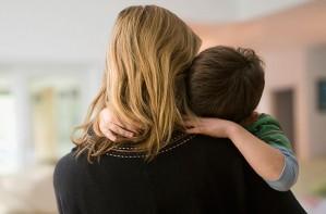 Explaining terrorism to children, mum hugging son