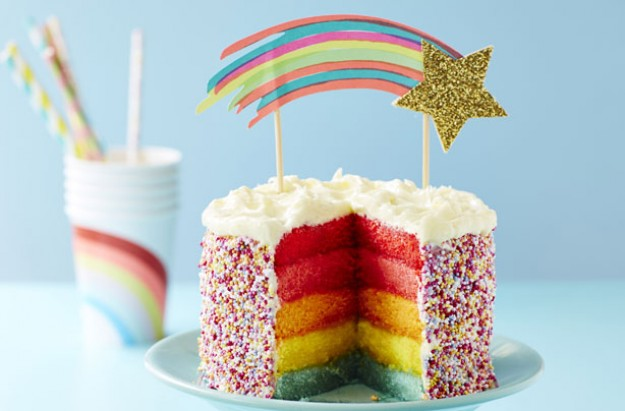Rainbow layer cake recipe goodtoknow for Cake recipe ideas uk