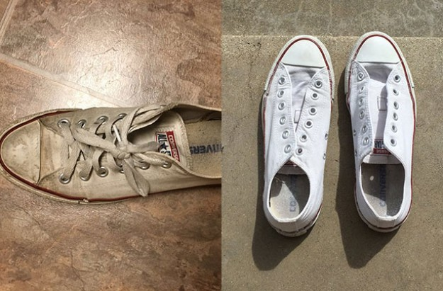 Before and after trainers cleaning hack