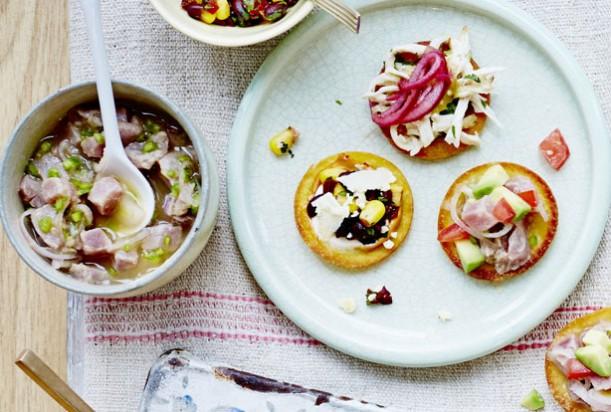 tostadas and tuna ceviche