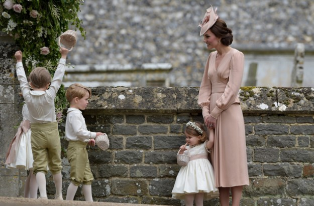 Prince George and Princess Charlotte with Kate at Pippa's wedding
